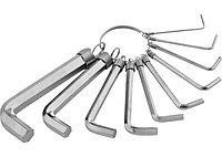 Набор ключей имбусовых HEX, 1,5 10 мм, CrV, 10шт.,никелированный, на кольце// SPARTA