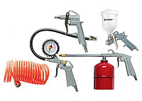 Набор пневмоинструмента, 5 предметов, быстросъемное соед., краскорасп. с верхним бачком// MATRIX