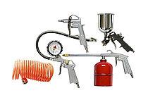Набор пневмоинструмента, 5 предметов, быстросъемное соед., краскорасп. с нижним бачком// MATRIX