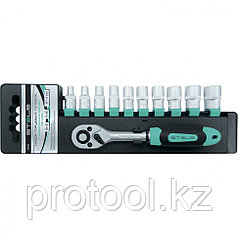 "Набор торцевых головок,  1/2"", головки 10 - 22 мм, с трещот. ключом, CrV,11 предм.//  STELS"