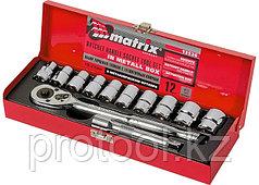 """Набор торцевых головок,  1/2"""", головки 10 - 24 мм, с трещот. ключом, 12 предм.// MATRIX MASTER"""