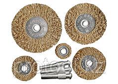Набор щеток для дрели, 5 шт., 5 плоских 25-38-50-63-75 мм, со шпильками, металлические// MATRIX