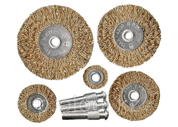 Набор щеток для дрели, 5 шт., 5 плоских 25-38-50-63-75 мм, со шпильками, металлические// MATRIX, фото 2