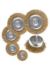 "Набор щеток для дрели, 6 шт., 5 плоских 40-50-65-75-100 мм + 1 ""чашка"" 50 мм, со шпильками // MATRIX"