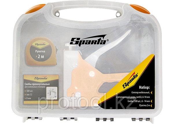 Набор: степлер мебельный регулируемый, скобы 500 шт, рулетка 2м., тип скобы 53, 4-14 мм// Sparta, фото 2