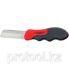Нож электрика, складной, прямое лезвие, эргономичная двухкомпонентная рукоятка//MATRIX