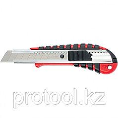 Нож, 18 мм выдвижное лезвие металлическая направляющая эргоном. двухкомпонентная рукоятка//MATRIX