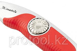 Нож, 18 мм выдвижное трапецивидное лезвие , эргономичная двухкомпонентная рукоятка//MATRIX, фото 2