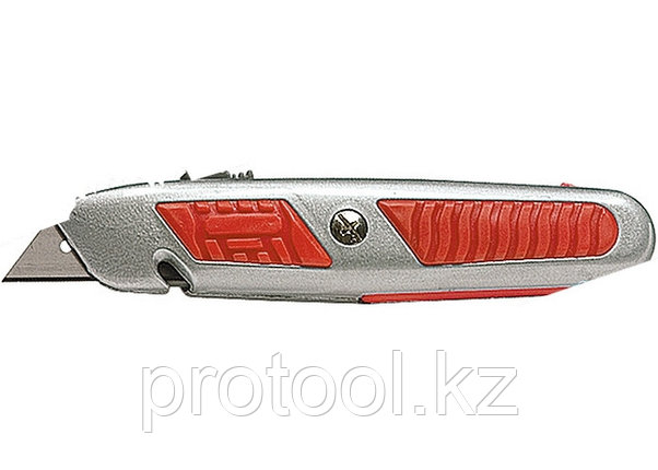 Нож, 18 мм, выдвижное трапециевидное лезвие, отделение для лезвий, метал.корпус// MATRIX MASTER, фото 2