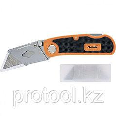 Нож, 18 мм, складной, пластиковая двухкомп рукоятка ,сменное трапециевидное лезвие,+5 лезв.//Sparta