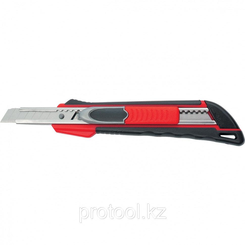"""Нож, 9 мм выдвиж. лезвие """"QUIK BLADE"""" мет. направл., двойная фикс., эргоном. двухком.рук.//MATRIX"""