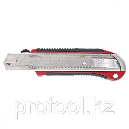 Нож, 25 мм, выдвижное лезвие, усиленная метал. направляющая, метал. обрезин. ручка// MATRIX MASTER, фото 2