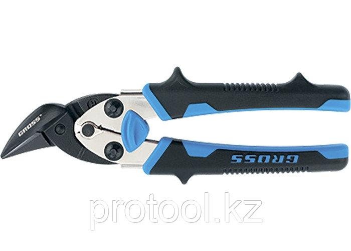 """Ножницы по металлу""""PIRANHA"""",185мм,прямой и правый рез,сталь-СrM,двухкомпонентные рукоятки//GROSS"""