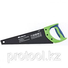 "Ножовка по дереву ""Зубец"", 350 мм, 7-8 TPI, зуб 2D, кал.зуб,  защ. покр., 2-х комп. рук-ка// Сибртех"