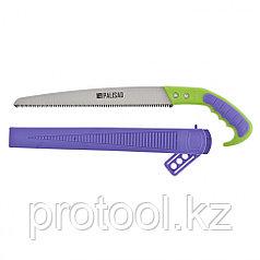 Ножовка садовая, 300 мм, 2-х компонентная рукоятка + ножны, подвес для поясного ремня// PALISAD
