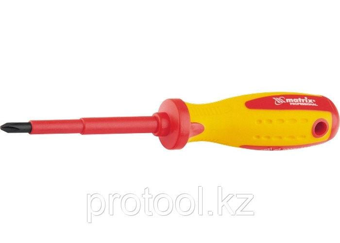 Отвертка Insulated, Ph0 x 75 мм, CrMo, до 1000 В, двухкомп. рукоятка// MATRIX PROFESSIONAL
