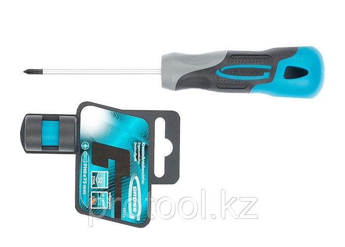 Отвертка PH0 x 75 мм, S2, трехкомпонентная рукоятка//GROSS