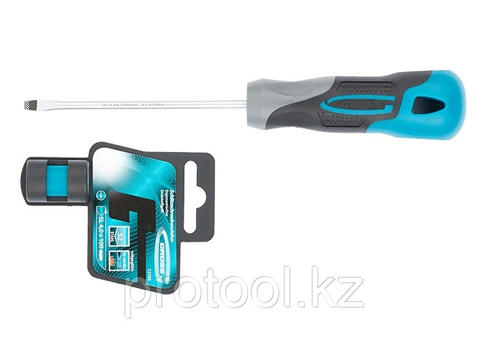 Отвертка SL4,0 x 100 мм, S2, трехкомпонентная рукоятка//GROSS