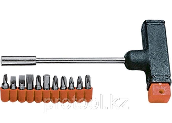 Отвертка с Т-образной ручкой, набор бит, 11 шт.// SPARTA