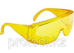 Очки защитные открытого типа, желтые, ударопрочный поликарбонат// СИБРТЕХ/Россия