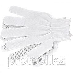 Перчатки нейлон, ПВХ точка, 13 класс, белые, XL// Россия
