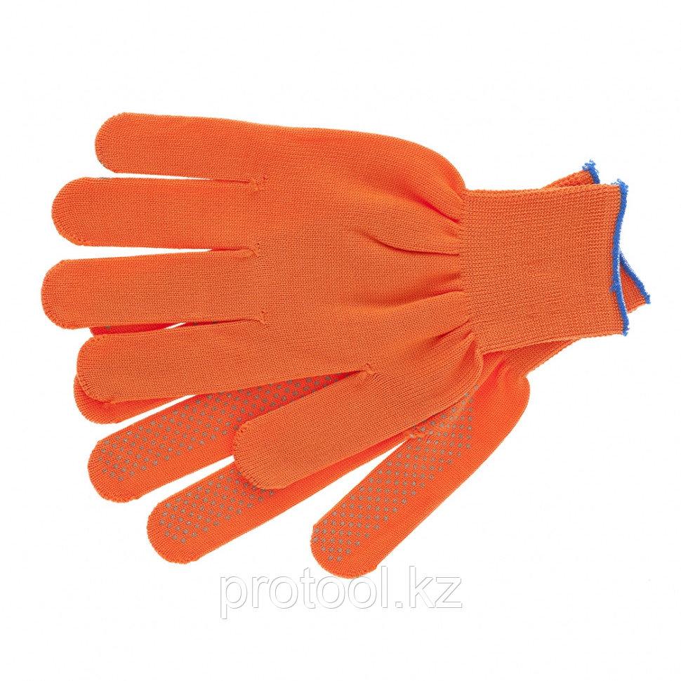 Перчатки нейлон, ПВХ точка, 13 класс, оранжевые, XL// Россия