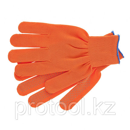 Перчатки нейлон, ПВХ точка, 13 класс, оранжевые, XL// Россия, фото 2