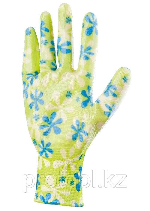 Перчатки садовые из полиэстера с нитрильным обливом, зеленые, S //PALISAD