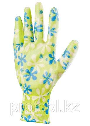 Перчатки садовые из полиэстера с нитрильным обливом, зеленые, S //PALISAD, фото 2