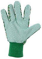 Перчатки садовые х/б ткань с ПВХ точкой, манжет, M //PALISAD