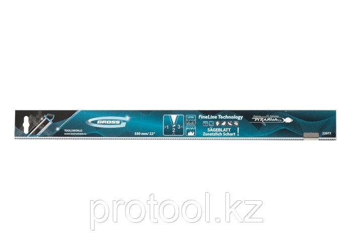 """Пильное полотно для прецизионного стусла """"PIRANHA"""", 550 мм, зуб 3D, каленый зуб, 18 TPI// GROSS"""