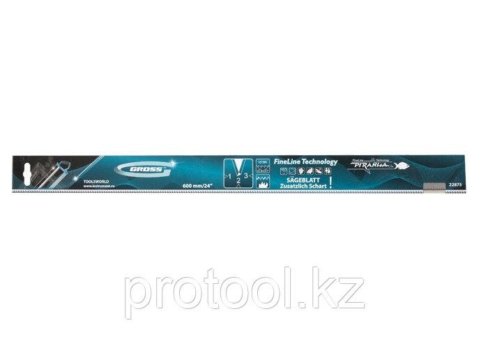 """Пильное полотно для прецизионного стусла """"PIRANHA"""", 600 мм, зуб 3D, каленый зуб, 18 TPI// GROSS"""