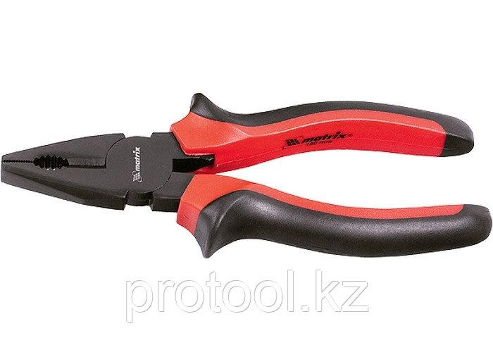 Плоскогубцы Black Nickel, 180 мм, комбинированные, двухкомпонентные рукоятки// MATRIX