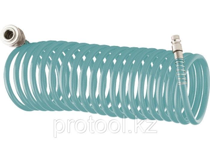 Полиуретановый спиральный шланг профессиональный BASF, 10 м, с быстросъемными соединениями // Stels