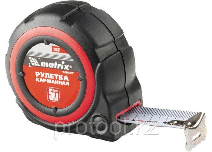 Рулетка Target, 3 м * 25, автоматическая фиксация, обрезиненный корпус// MATRIX