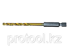 Сверло по металлу, 10 мм, HSS, нитридтитановое покрытие, 6-гранный хвостовик// MATRIX