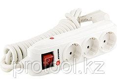 Удлинитель бытовой с зазем., выключателем, предохранит и шторками, 2м, 3 розетки, 16A, STERN