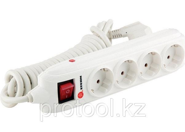 Удлинитель бытовой с зазем., выключателем, предохранит и шторками, 2м, 4 розетки, 16A, STERN, фото 2