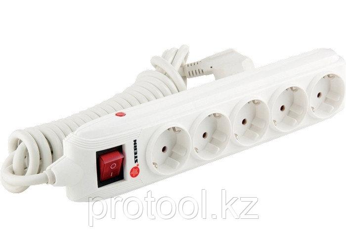 Удлинитель бытовой с зазем., выключателем, предохранит и шторками, 2м, 5 розетки, 16A, STERN