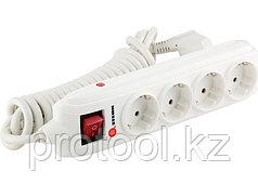 Удлинитель бытовой с зазем., выключателем, предохранит и шторками, 3м, 4 розетки, 16A, STERN