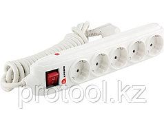 Удлинитель бытовой с зазем., выключателем, предохранит и шторками, 3м, 5 розетки, 16A, STERN