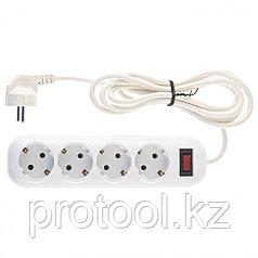 Удлинитель бытовой серия EF, с заземлением и выключателем, 2м, 4 розетки, 10A // Stern