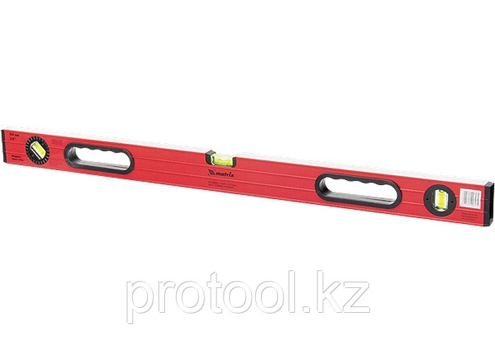 Уровень алюминиевый, 1000 мм,  фрезерованный, 3 глазка (1 поворотный), две ручки, усиленный// MATRIX