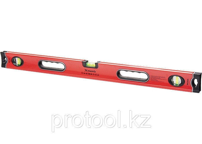 Уровень алюминиевый, 1000 мм, 3 глазка, ударопрочные заглушки, двухкомпонентные ручки// MATRIX PROFI