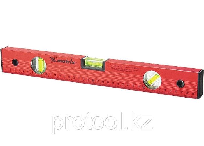 Уровень алюминиевый, 2000 мм, 3 глазка, красный, линейка// MATRIX