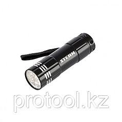 Фонарь бытовой алюминиевый с гравировкой, чёрный корпус, 9 LED, 3хААА// Stern