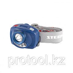 Фонарь налобный Extreme, ABS, 3 реж, ИК сенсор, CREE XP-E LED 3 Вт 120 лм+2 red, 8 ч, 3хААА// Stern