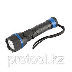 Фонарь светодиодный, прорезиненный ударопрочный корпус, 3 LED, 2хАА// Stern