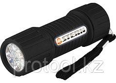 Фонарь светодиодный, чёрный корпус с мягким покрытием, 9 LED, 3хААА// Stern