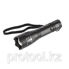 Фонарь, CREE LED 3 Вт, зум,  3 режима 100%-50%-строб, ремешок, 160 лм, 200 м, 3хААА// Stern